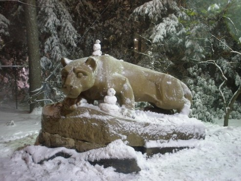 This picture of a snowy Nittany Lion shrine was sent to us by Jackie Generotti.
