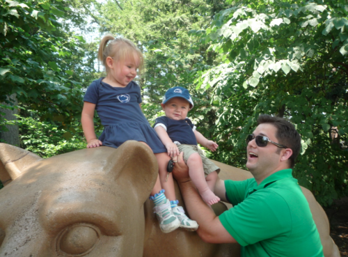 Dan and the kids at the Lion Shrine