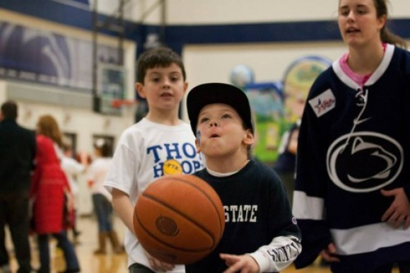 This little guy was practicing his free throws, in case he was needed for clutch, late-game conversions from the charity stripe. (Photo by: Bobby Chen)