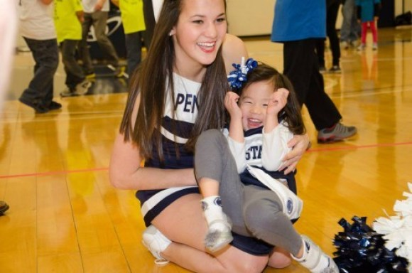 Two Penn State cheerleaders hanging out before the game. (Photo by: Mitchell Wilston)