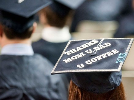 A handful of new graduates expressed themselves with decorative caps Dec. 21.