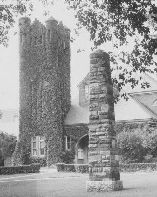 Obelisk with Armory in background, 1940s