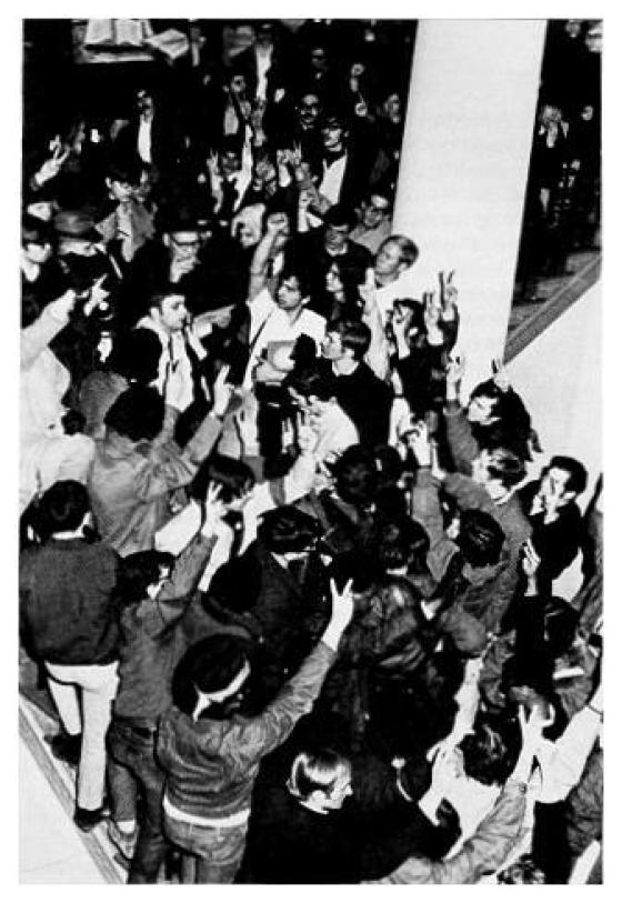 An Old Main sit-in protest in action. (Photo: Penn State Libraries)