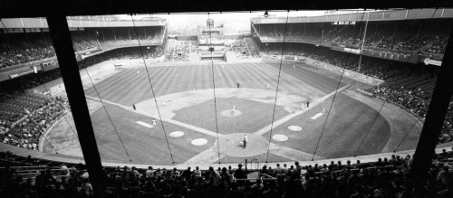 A view behind home plate of the Polo Grounds during New York Mets and the Milwaukee Braves in 1963.
