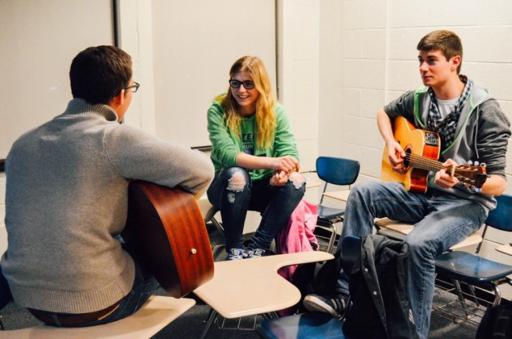 Zach Yoas, Eva Pauli and Nick Lubrano collaborate in a jam session