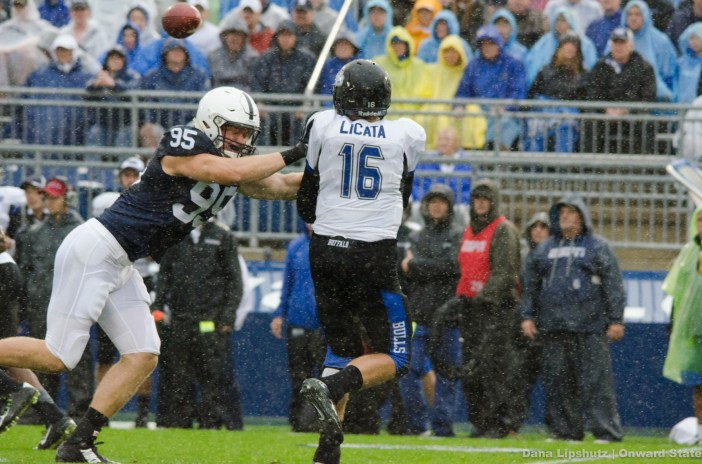 Carl Nassib goes to sack Licata on third down to end  Buffalo's first drive at 4th and 20.