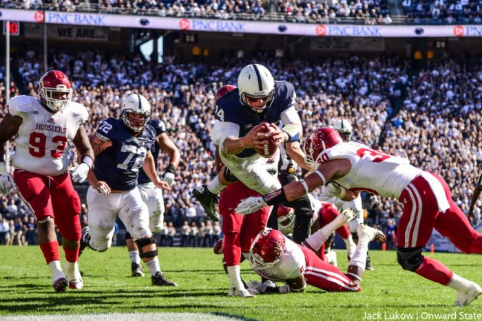 Hackenberg takes a lesson from Saquon Barkley and hurdles himself into the endzone for his second  touchdown of the game.