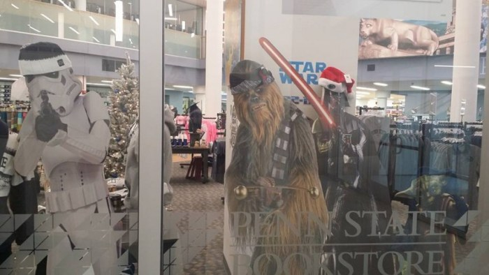 Star Wars cutouts on display outside the bookstore in the HUB.