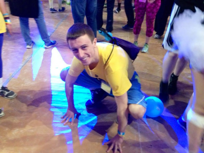 Dan Deegan stretches at THON 2016