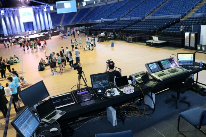 Students showed up at the Bryce Jordan Center at 5:30 a.m. in order to get things looking their best.