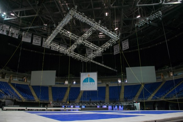 Employees have worked throughout the week to get the Bryce Jordan Center ready to dance for 46 FTK.