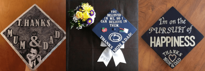thanks mom and dad grad caps