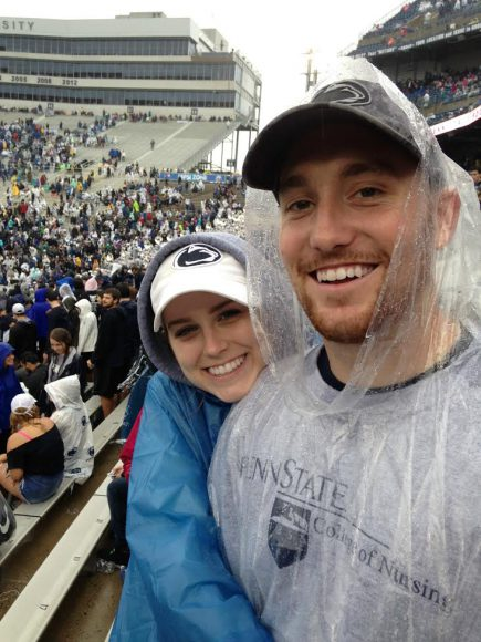Amanda Baldwin and Will Watson during a Penn State football game, one of the couple's favorite things to go to together.