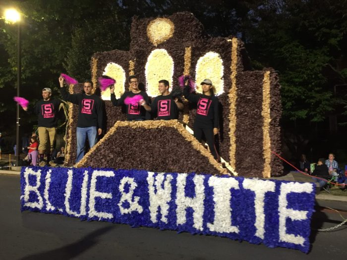 blue and white society lion ambassadors homecoming 2016 parade