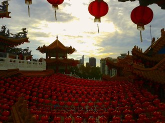 Chinese Temple during Chinese New Year celebration in Kuala Lumpur