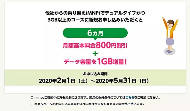 マイオネ(mineo)が月額基本料金6カ月800円割引+1GB増量