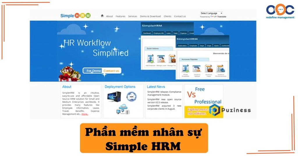 Phần mềm nhân sự Simple HRM
