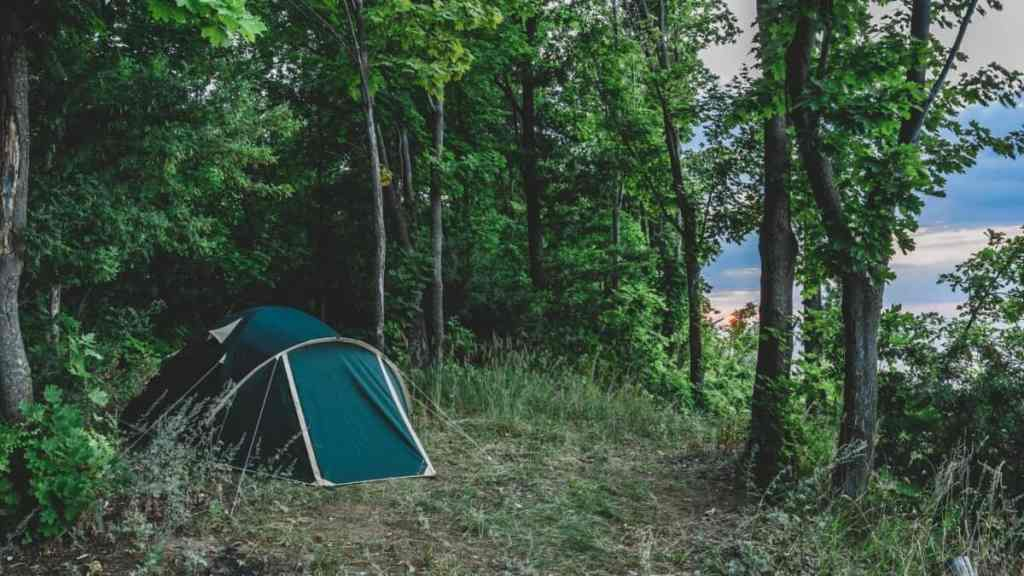 bug out tent in the woods