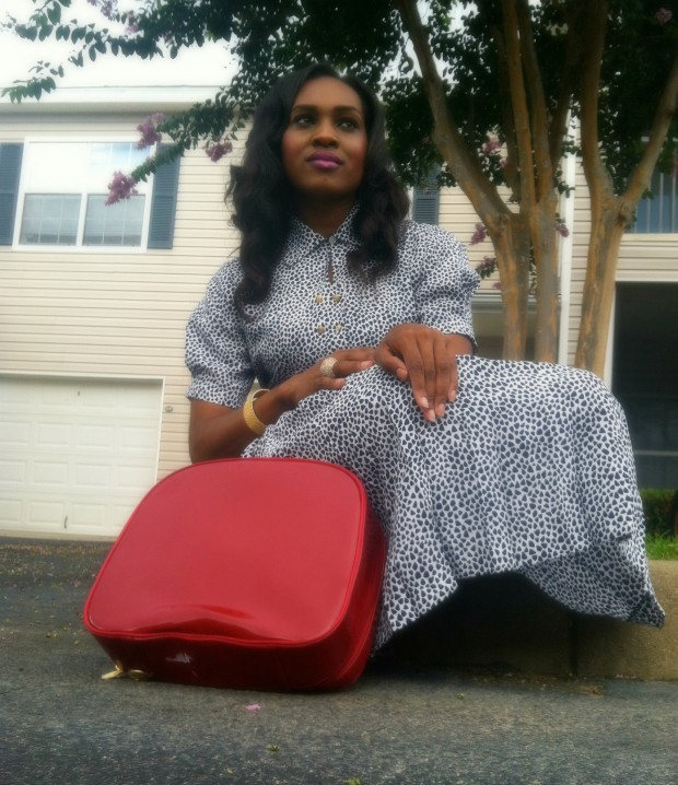 style-files-with-pretty-price-Thrifted-White- and-Blue-Polka-Dot- Schrader-Petite-Pleated-Shirt-Dress-and-Red-BCBG-Peep-toe-Pumps-4