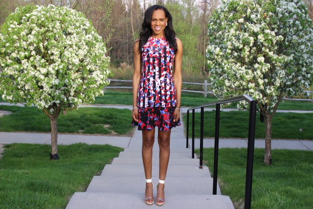 Style-Files-with- PrettyPrice-Peter-Pilotto-Target-Red- Floral-Drop-Waist-Dress-Forever-21-Clear-Platform- Sandals-7