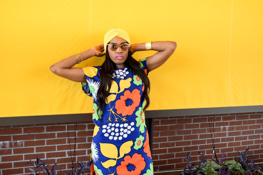 Style-Files-Target-Marimeko-collection -floral-tunic-justfab-tayrey-yellow-fringe-heels-sandals-yellow-turban-asos-denim-choker-oohlalablog-5