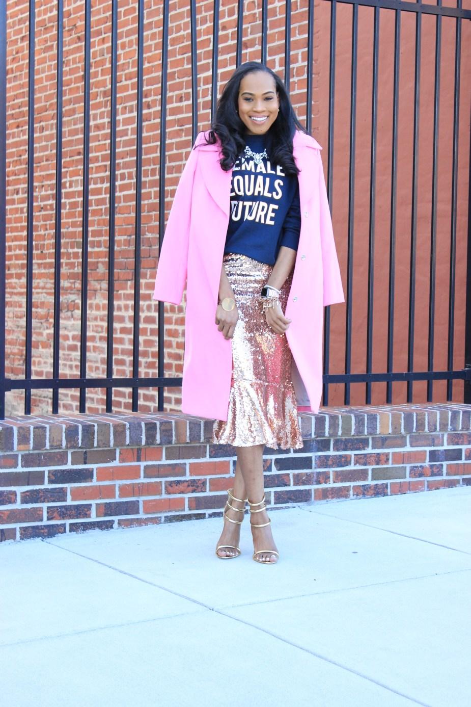 Style-Files-HM-Female-Equals-Future-Oversized-Sweatshirt-Boohoo-Rose-Gold-Sequin-Skirt-Trumpet-Hem-boohoo-Jasmine- Sequin-Ruffle-Hem-Midi Skirt-Public-Desire-Aisha-Gold-Strappy-Heeled- Sandals-Miss-Selfridge-Tailored-Hot-Pink-Jacket-oohlalablog-10