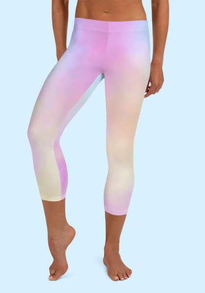 Woman wearing unique Cotton Candy Zouk Leggings designed by Ooh La La Zouk. Capri, front barefoot view (2).