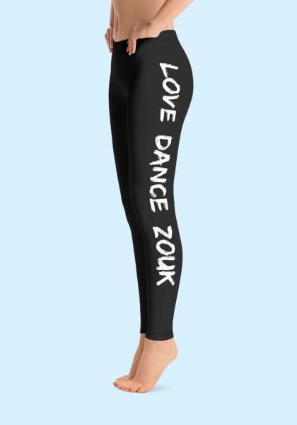 """Woman wearing Zouk Leggings decorated with a unique """"Love Dance Zouk"""" design. Left side view (1). By Ooh La La Zouk."""