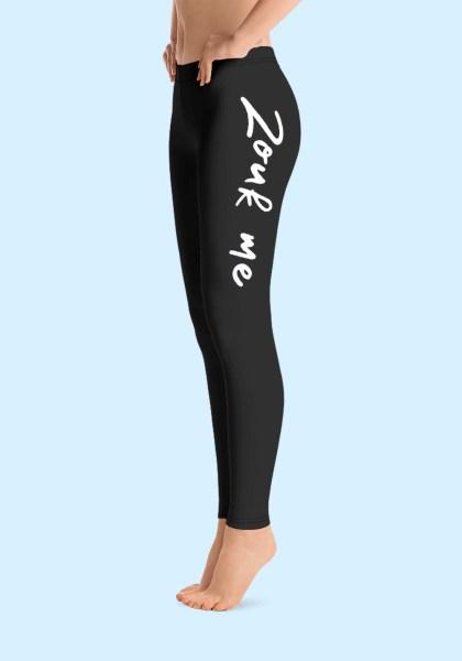 """Woman wearing Zouk Leggings decorated with a unique """"Zouk me"""" design. Left side view (1) barefoot. By Ooh La La Zouk."""