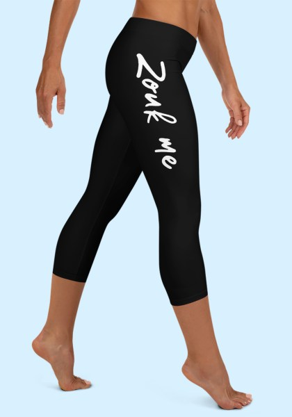 "Woman wearing Capri Zouk Leggings decorated with a unique ""Zouk me"" design. Right side view (2) barefoot. By Ooh La La Zouk."