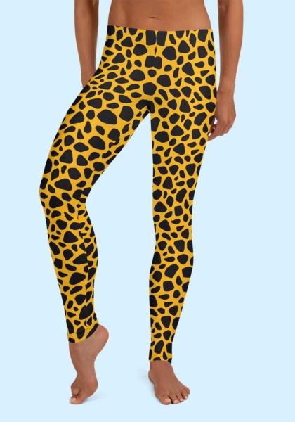 Woman wearing unique Leopard Zouk Leggings designed by Ooh La La Zouk. Front barefoot view (2).