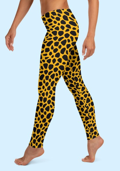 Woman wearing unique Leopard Zouk Leggings designed by Ooh La La Zouk. Left side barefoot view (2).