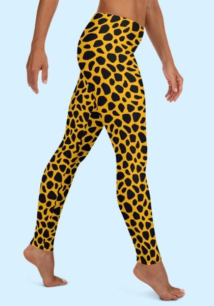 Woman wearing unique Leopard Zouk Leggings designed by Ooh La La Zouk. Right side barefoot view (2).