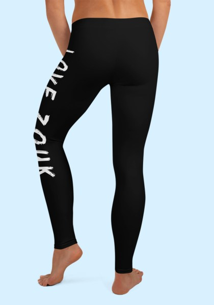 "Woman wearing Zouk Leggings decorated with unique ""Love Zouk"" design. Back view, barefoot. By Ooh La La Zouk."
