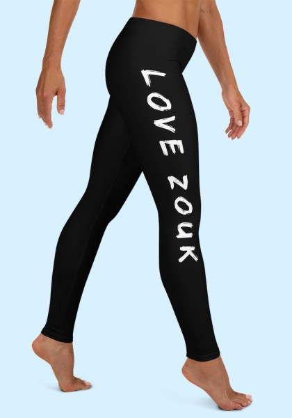 "Woman wearing Zouk Leggings decorated with unique ""Love Zouk"" design. Right side view, barefoot. By Ooh La La Zouk."