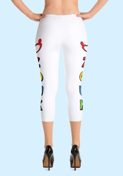 """Woman wearing unique """"me plus Zouk"""" Leggings designed by Ooh La La Zouk. Capri, Back, high heels view."""