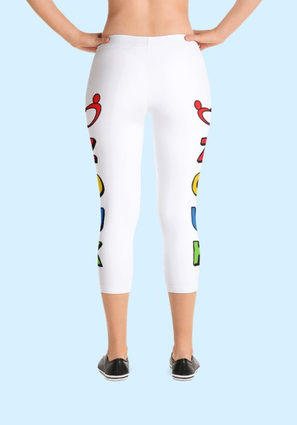 "Woman wearing unique ""me plus Zouk"" Leggings designed by Ooh La La Zouk. Capri, Back, sneakers view."