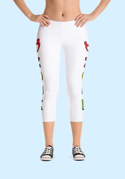"""Woman wearing unique """"me plus Zouk"""" Leggings designed by Ooh La La Zouk. Capri, Front, sneakers view."""