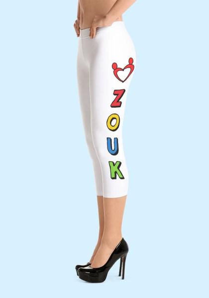 """Woman wearing unique """"me plus Zouk"""" Leggings designed by Ooh La La Zouk. Capri, Left side, high heels view."""