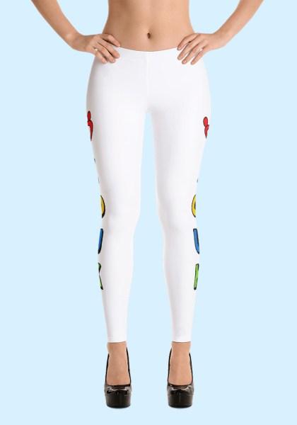 """Woman wearing unique """"me plus Zouk"""" Leggings designed by Ooh La La Zouk. Front high heels view."""
