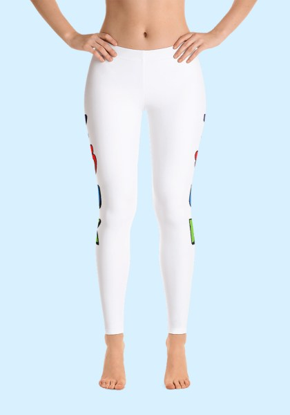 "Woman wearing unique ""me plus Zouk"" Leggings in bold and brave design by Ooh La La Zouk. Front, barefoot view 1."