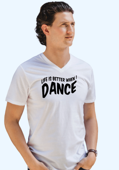"Man wearing Zouk T-shirt decorated with unique ""Life is better when I Dance"" design in white v-neck style"