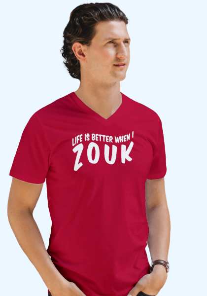 "Man wearing Zouk T-shirt decorated with unique ""Life is better when I Zouk"" design in red v-neck style"