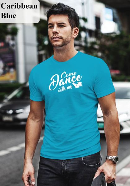 "Man wearing Zouk t-shirt decorated with unique ""Come Dance with me"" design in caribbean blue crew neck style"