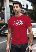 "Man wearing Zouk t-shirt decorated with unique ""Come Dance with me"" design in red crew neck style"