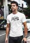 """Man wearing Zouk t-shirt decorated with unique """"Come Dance with me"""" design in white crew neck style"""