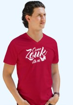 "Man wearing Zouk T-shirt decorated with unique ""Come Zouk with me"" design in red v-neck style"