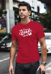 """Man wearing Zouk T-shirt decorated with unique """"Come Zouk with me"""" design in red crew neck style"""