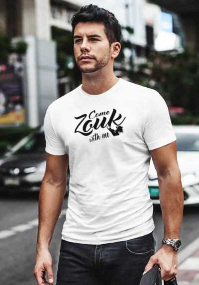 "Man wearing Zouk T-shirt decorated with unique ""Come Zouk with me"" design in white crew neck style"