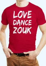 """Man wearing Zouk T-shirt decorated with unique """"Love Dance Zouk"""" design in red crew neck style"""
